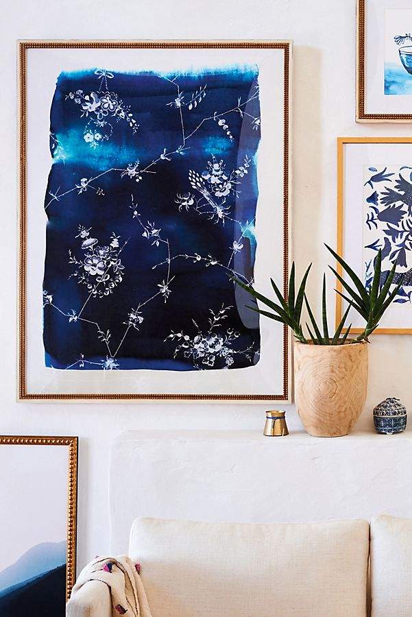 Slide View: 5: Blue And White Floral Wall Art