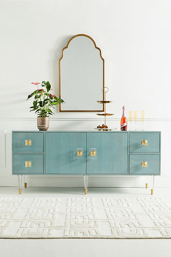 Bright Lacquered Teal Blue Buffet with Storage