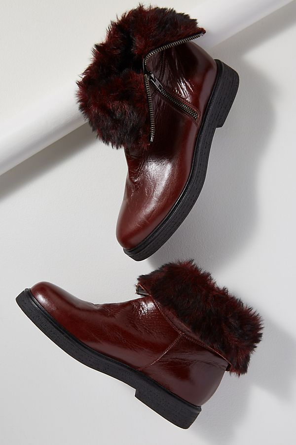 Faux Fur Lined Leather Boots