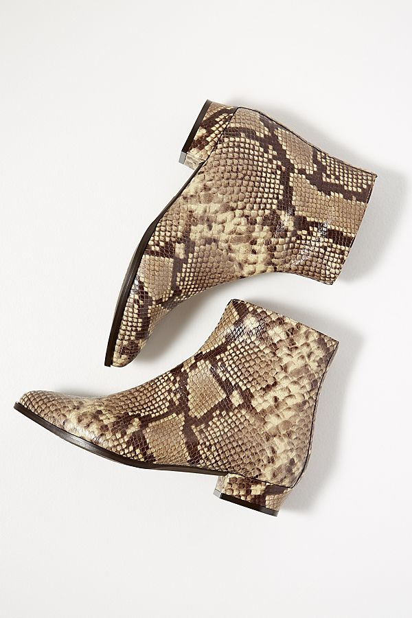 4d086d616597 Snakeskin-Print Leather Ankle Boots | Anthropologie UK
