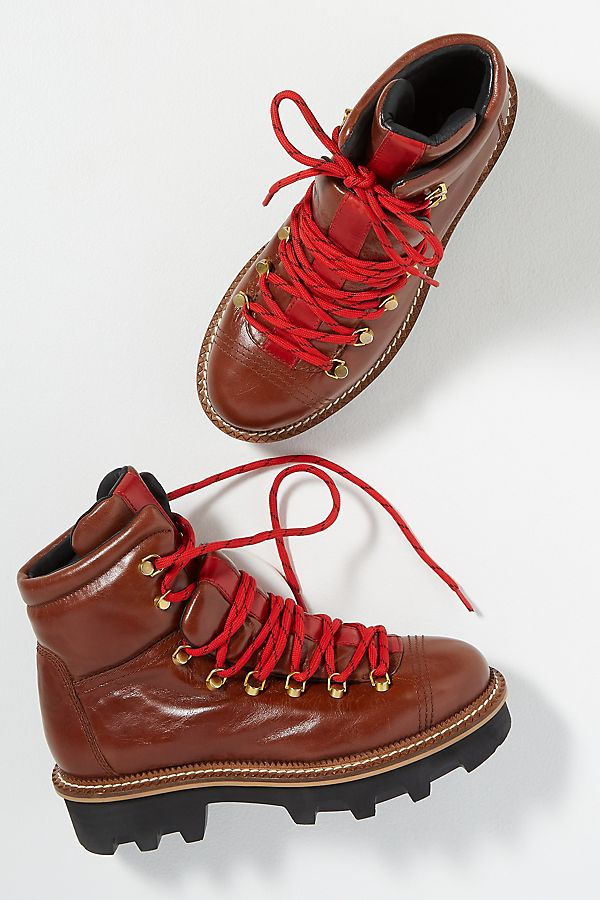 Leather Hiking Ankle Boots by Anthropologie