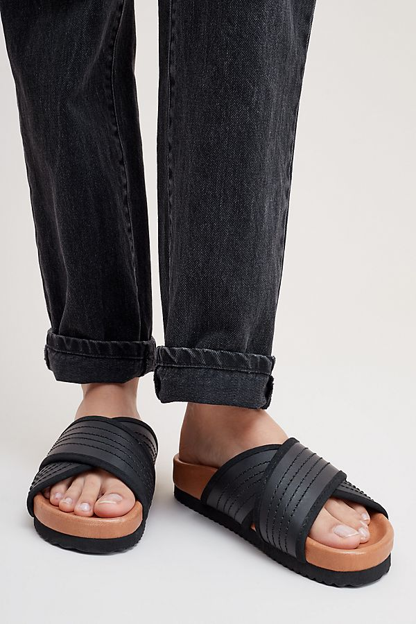 6a6b0e7e0f0 Selected Femme Maddie Leather Sliders | Anthropologie UK