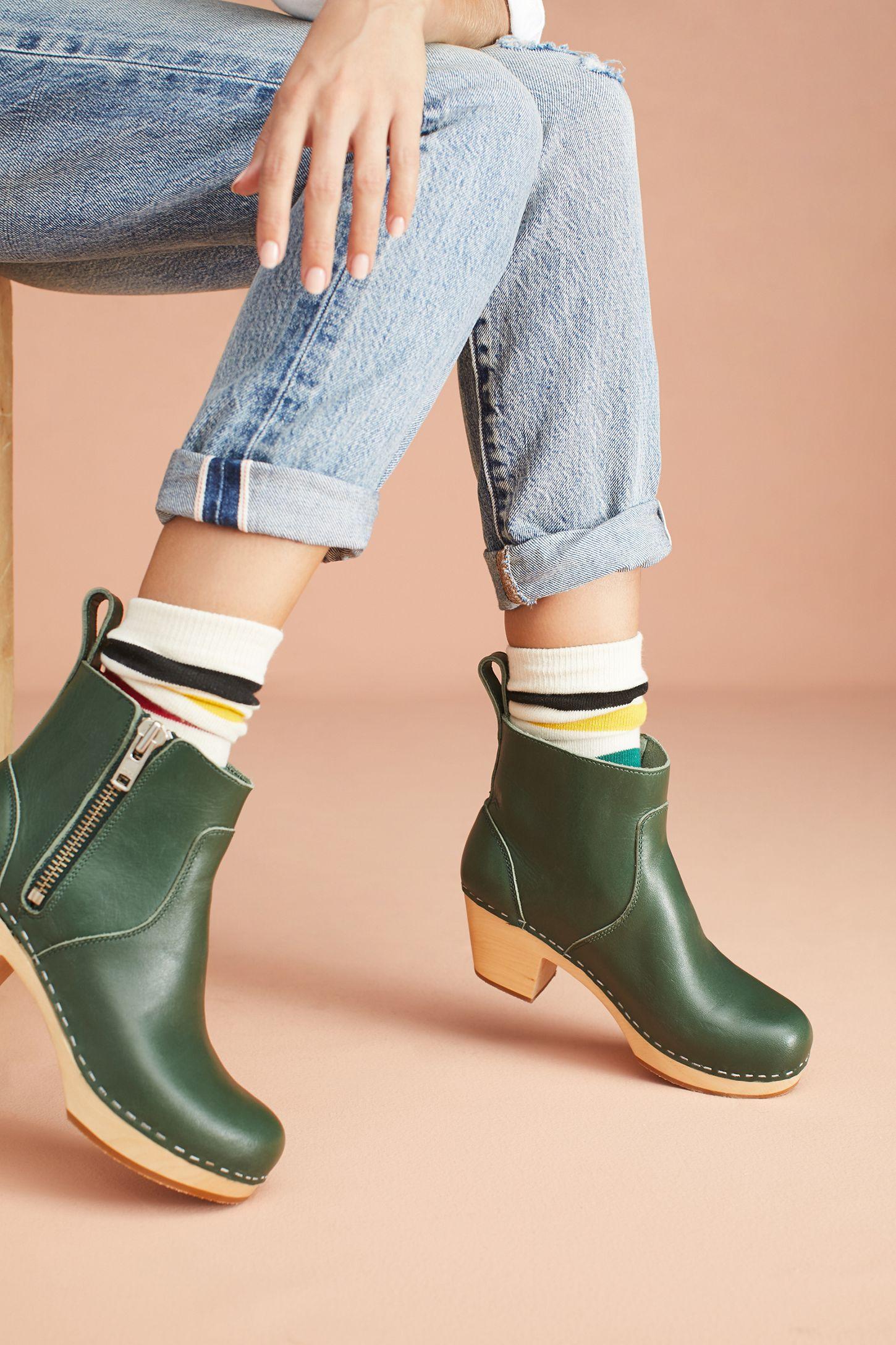 70a42a2c7ad Swedish Hasbeens Zip It Emy Clog Boots