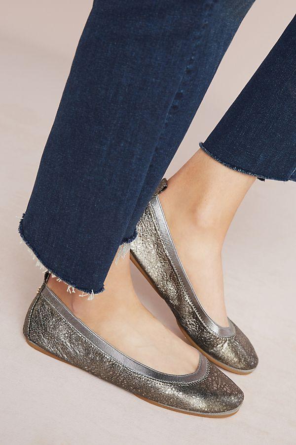 a8fbc23279a Yosi Samra Metallic Ballet Flats