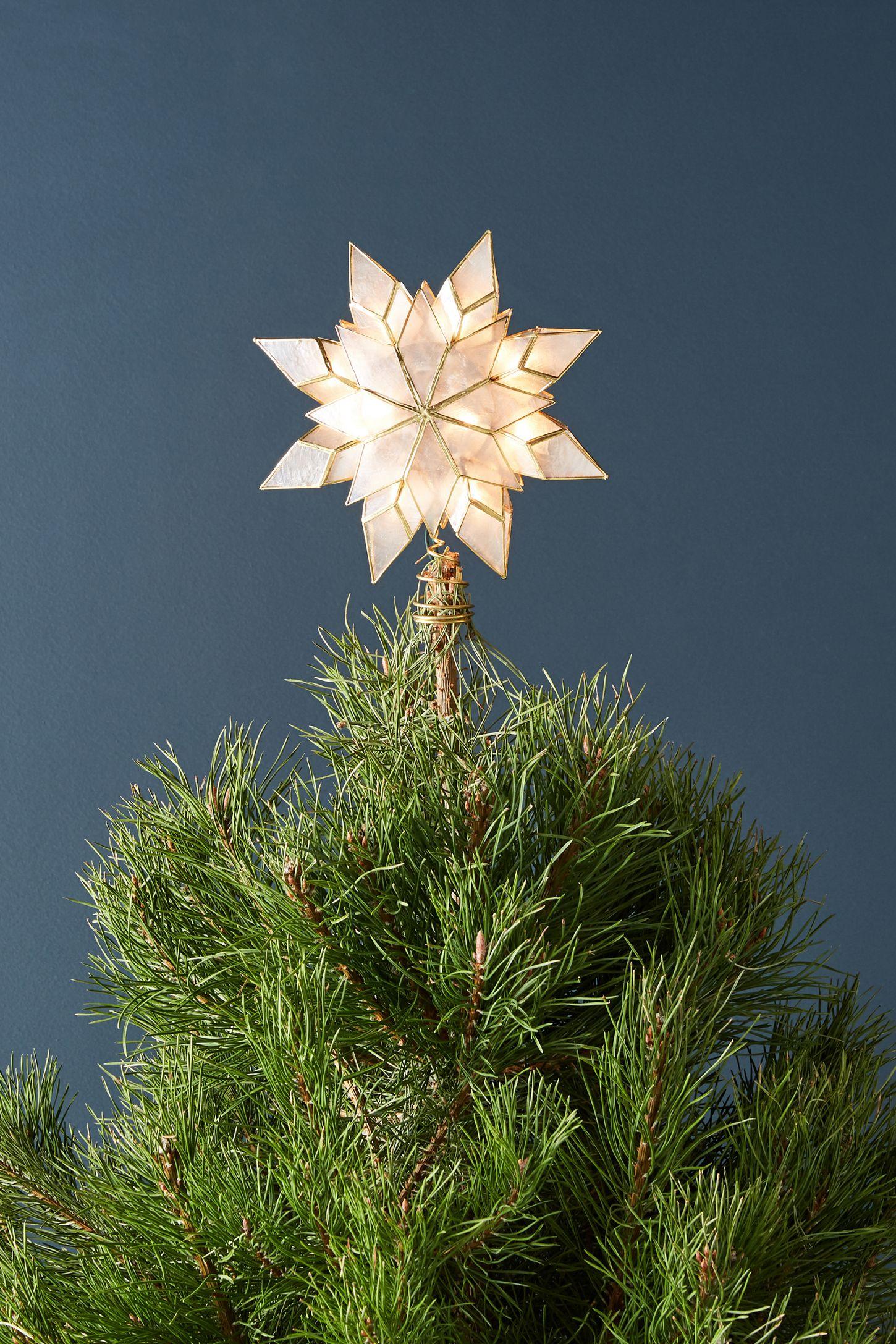 Capiz Star Light Up Tree Topper