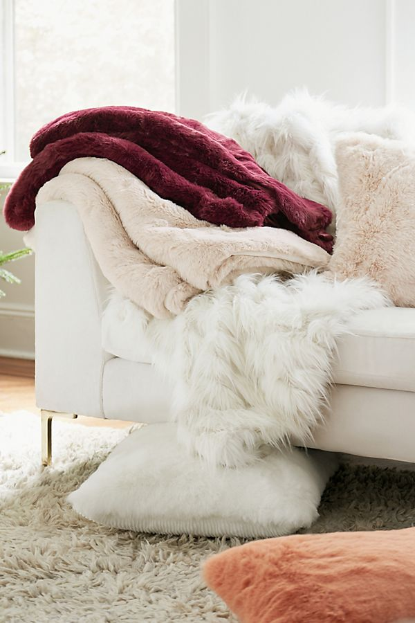 Slide View: 3: Feathered Faux Fur Throw Blanket
