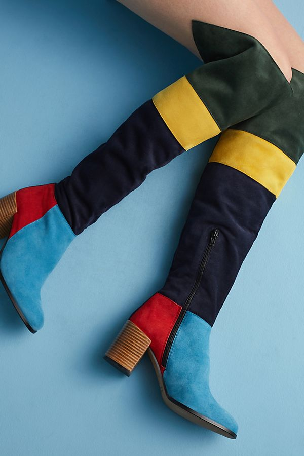 f8bd990fd12 Anthropologie Colorblock Knee-High Boots