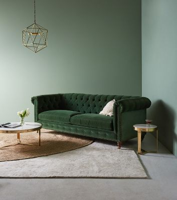 Lyre Chesterfield Two Cushion Sofa by Anthropologie