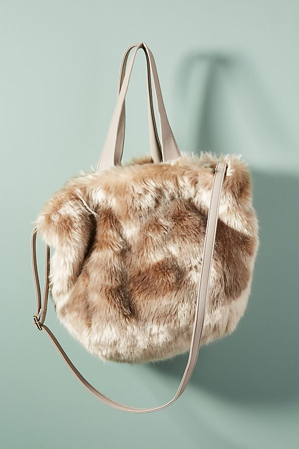 45445e0a3e Shimmer Faux Fur Tote Bag