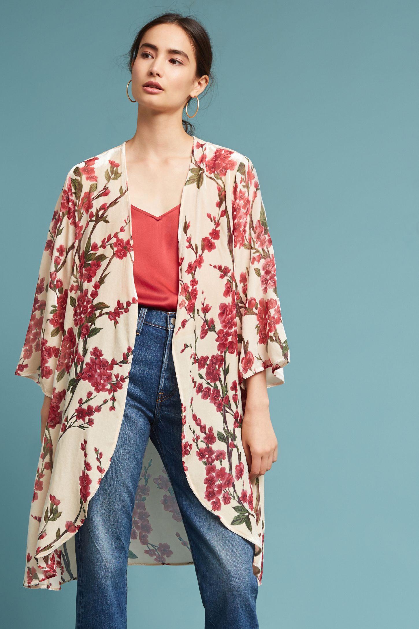 572150120bec Velvet Cherry Blossom Kimono