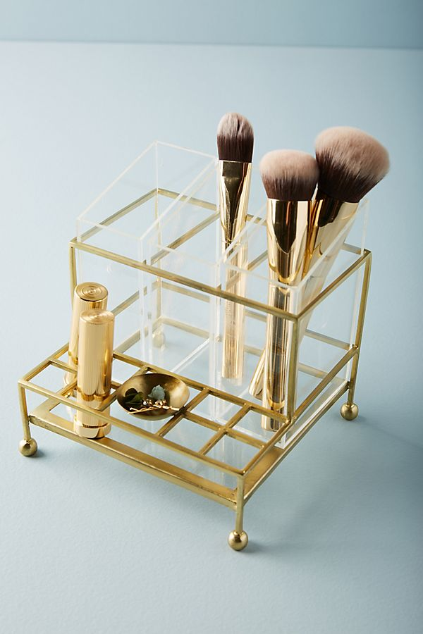 Gold Makeup Vanity Organizer Clear  Accessories