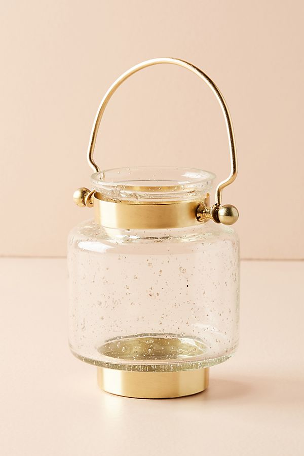 Gold Clear Candle Holder Lantern  Home Accessories