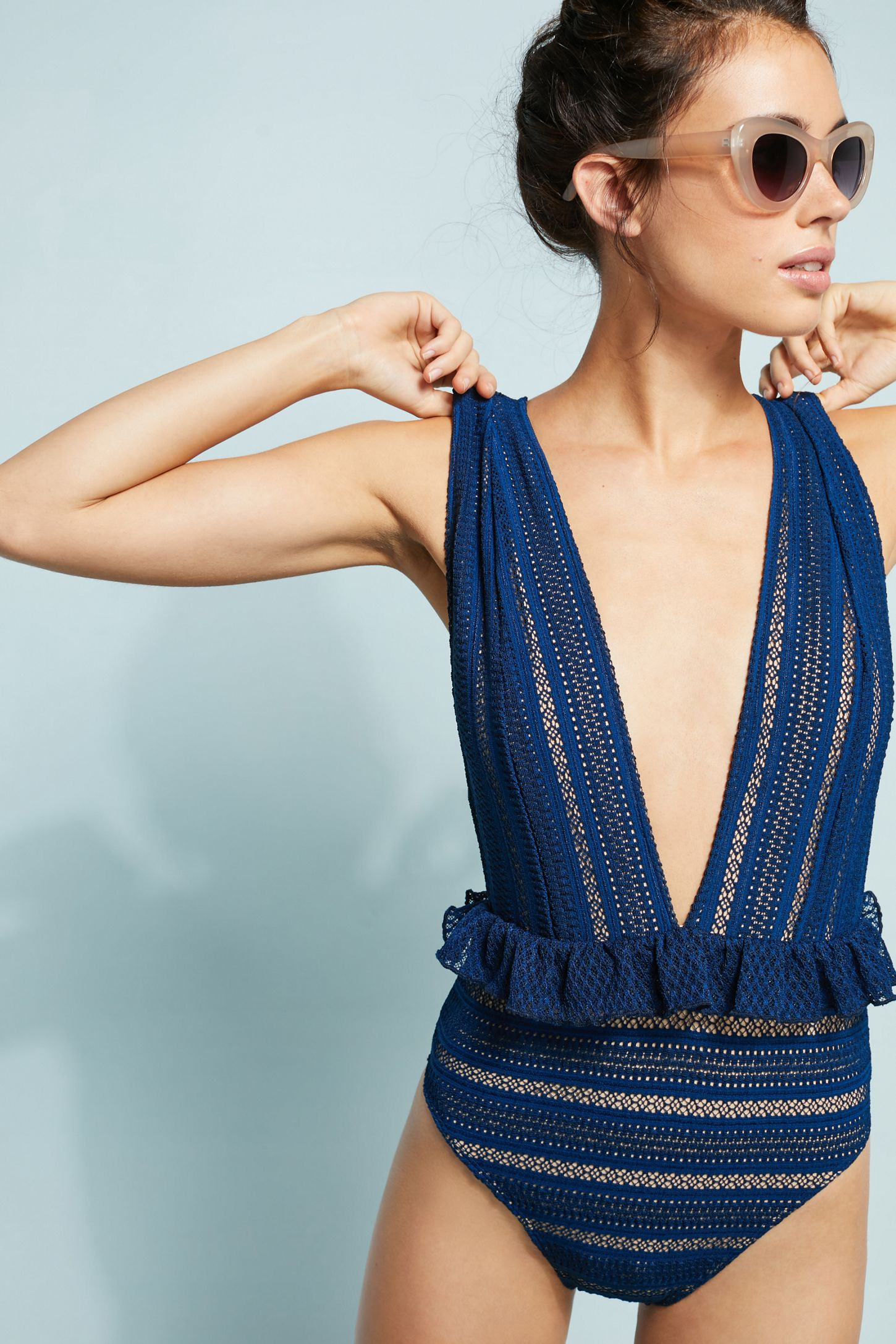 325fecf2c6b Nightcap Bardot Ruffled Lace One-Piece Swimsuit | Anthropologie