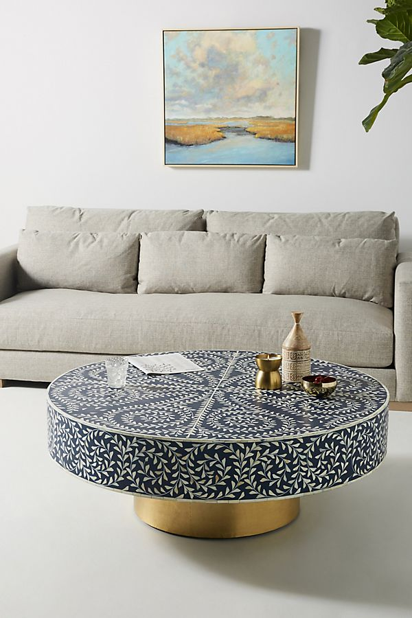 Slide View: 1: Targua Scroll Vine Inlay Coffee Table