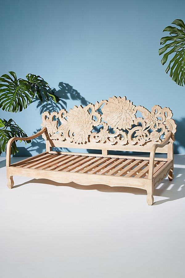 Slide View: 1: Handcarved Lotus Daybed