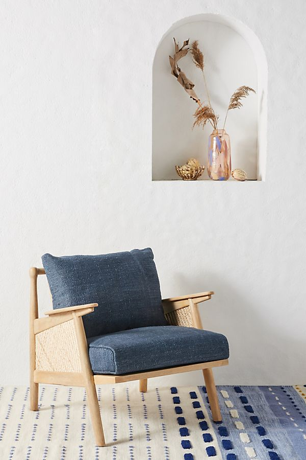 Slide View: 1: Linen Cane Chair
