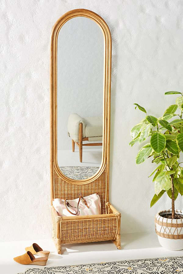 Slide View: 1: Hazel Rattan Floor Mirror