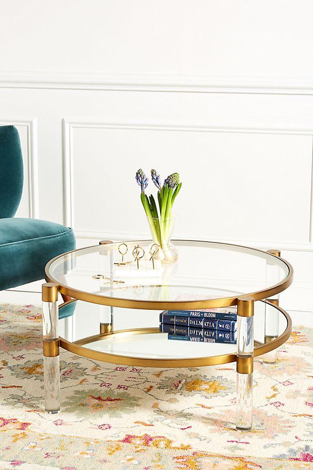 Oscarine Lucite Round Mirrored Coffee, Round Acrylic Coffee Table