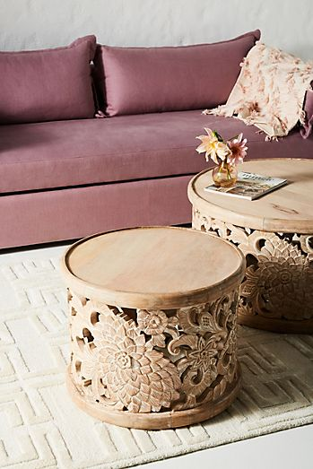 handcarved lotus side table
