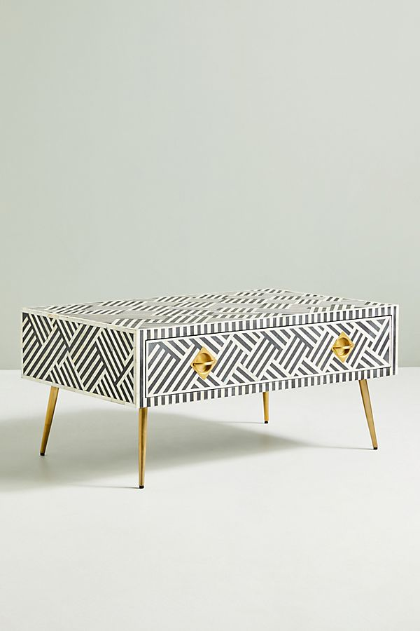 Modern Black and White Coffee Table with Gold Legs