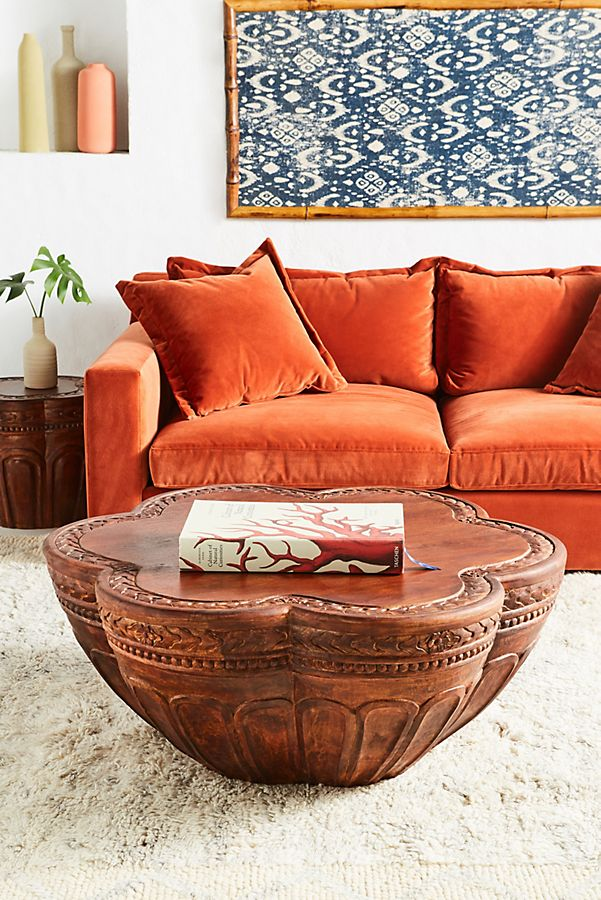 Slide View: 1: Handcarved Cicely Coffee Table