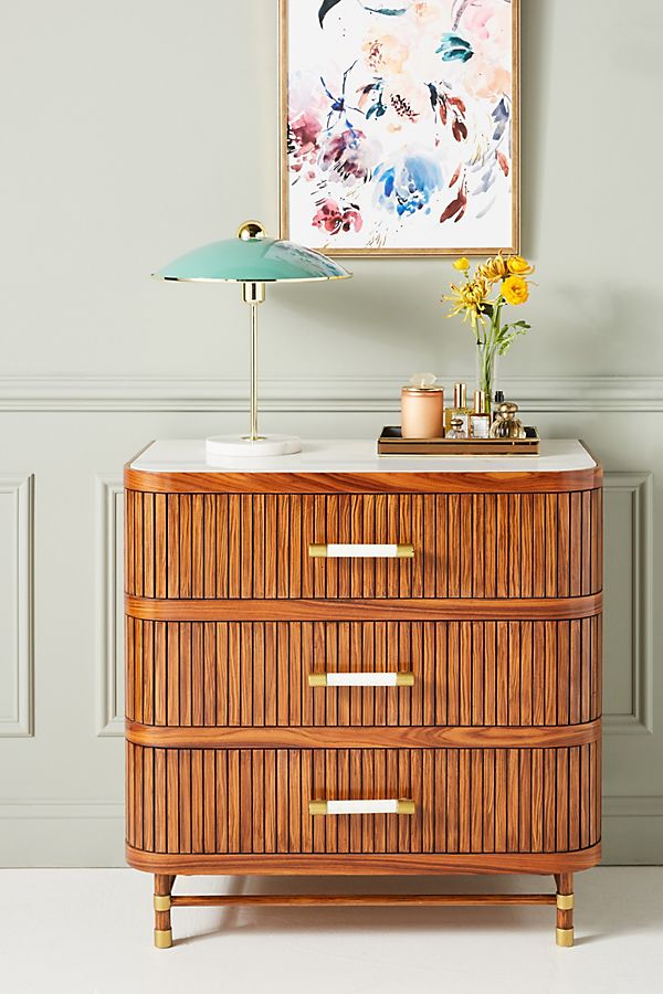 Tamboured Three Drawer Dresser by Anthropologie