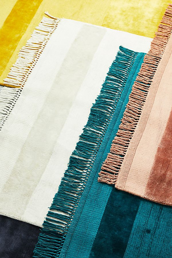 Slide View: 4: Handloomed Striped Viscose Rug