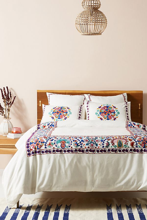 Slide View: 1: Embroidered Aricota Duvet Cover