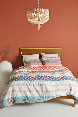 Slide View: 1: Woven Rosewood Duvet Cover