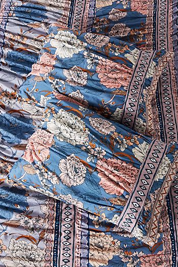 Anthropologie Embroidered Feather Bloom Euro Shams Set