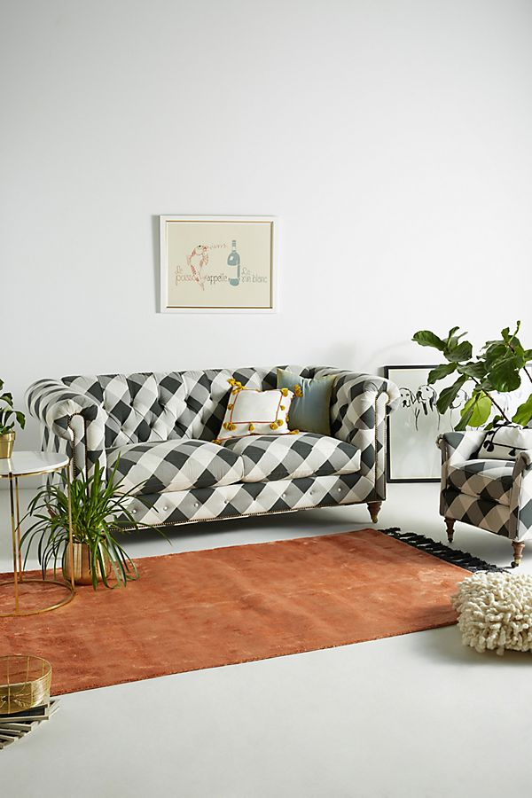 Buffalo Check Lyre Chesterfield Two Cushion Sofa Anthropologie