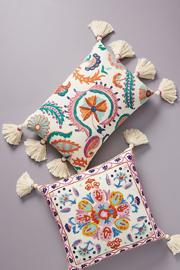 Slide View: 4: Embroidered Valeria Pillow