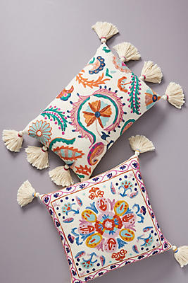 Slide View: 1: Embroidered Valeria Pillow