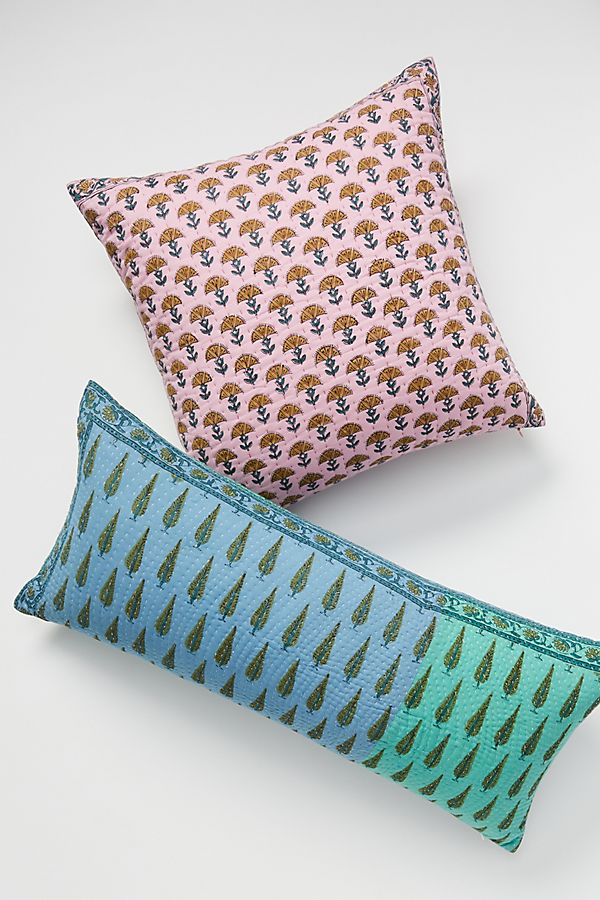Slide View: 1: Kantha-Stitched Verbena Pillow