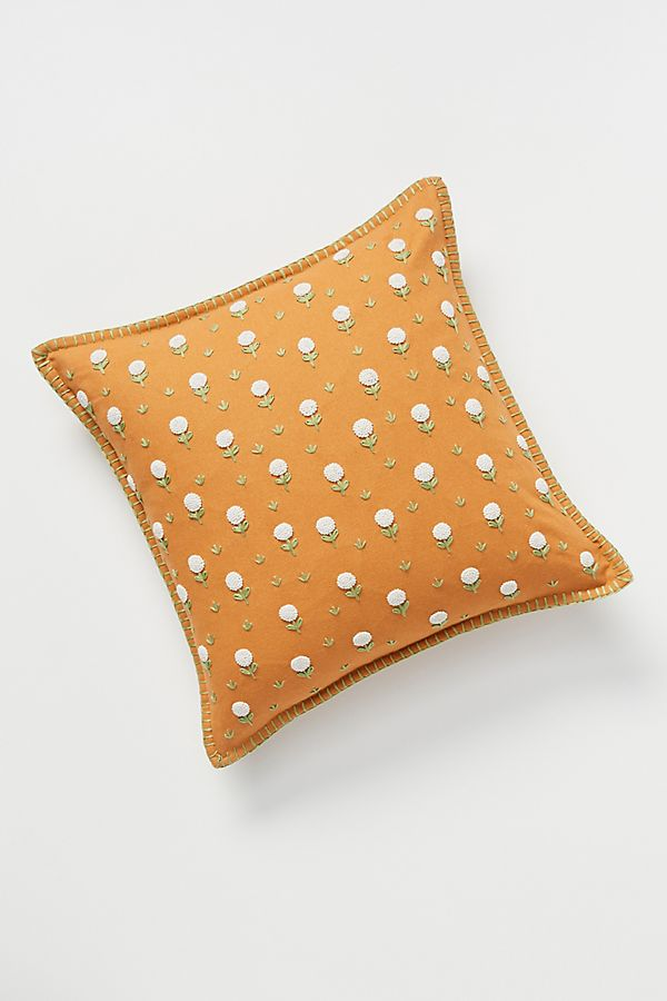 Slide View: 1: Embroidered Wildflower Pillow