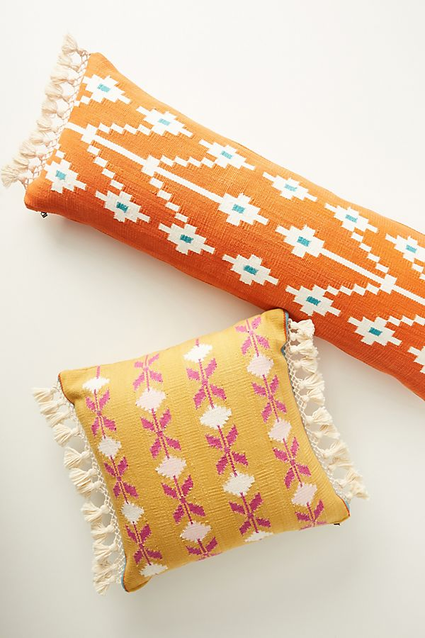 Slide View: 4: Handwoven Saffron Pillow