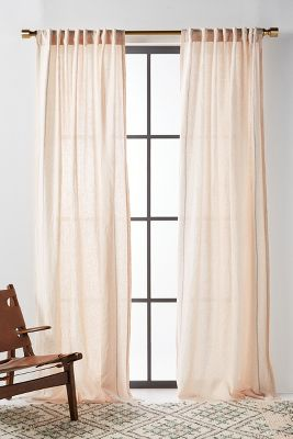Stitched Linen Curtain Anthropologie