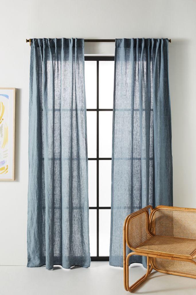 Blue grey stitched linen curtain - Anthropologie. #homedecor #bluegrey #curtains