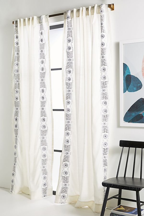 Slide View: 1: Embroidered Petunia Curtain