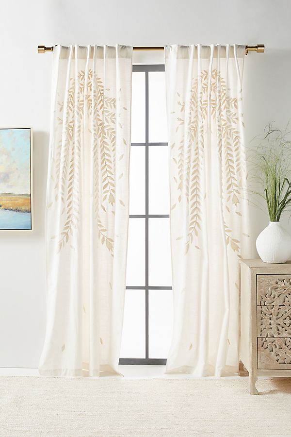 Slide View: 1: Embroidered Reme Curtain
