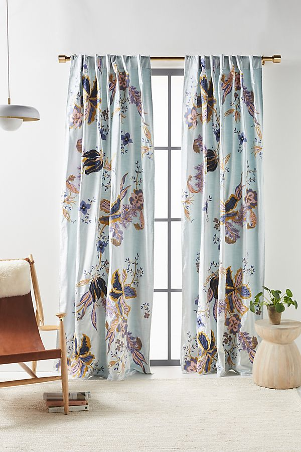 Slide View: 1: Embroidered Velvet Elan Curtain