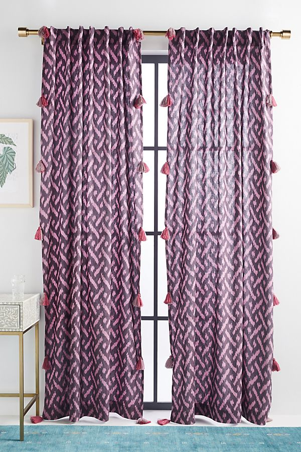 Slide View: 1: Tia Ikat Tasseled Curtain