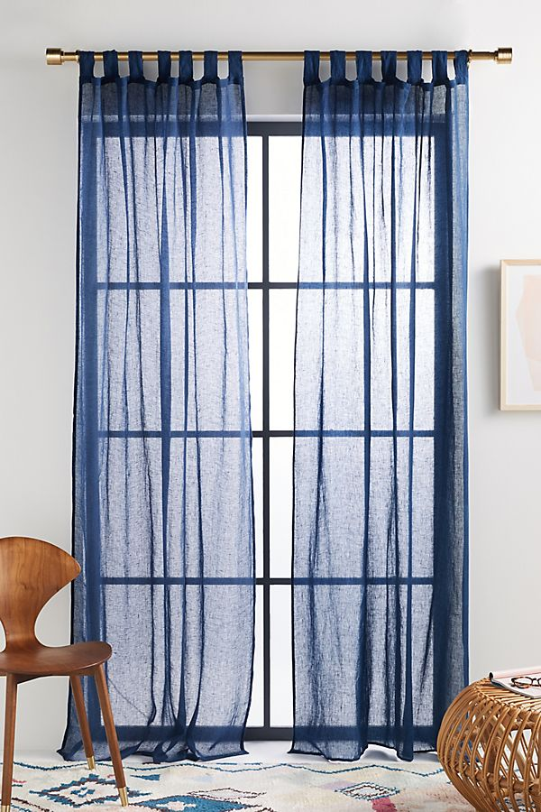 Slide View: 1: Gauzy Linen Curtain