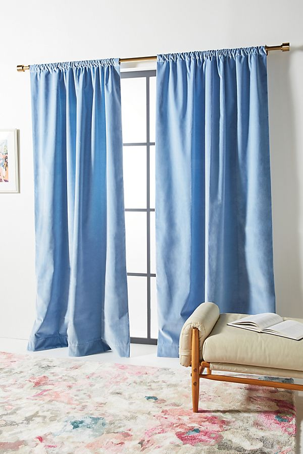 Slide View: 1: Velvet Slub Curtain
