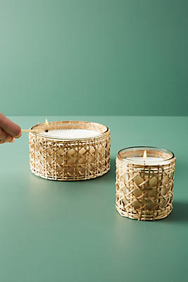 Slide View: 2: Woven Rattan Candle