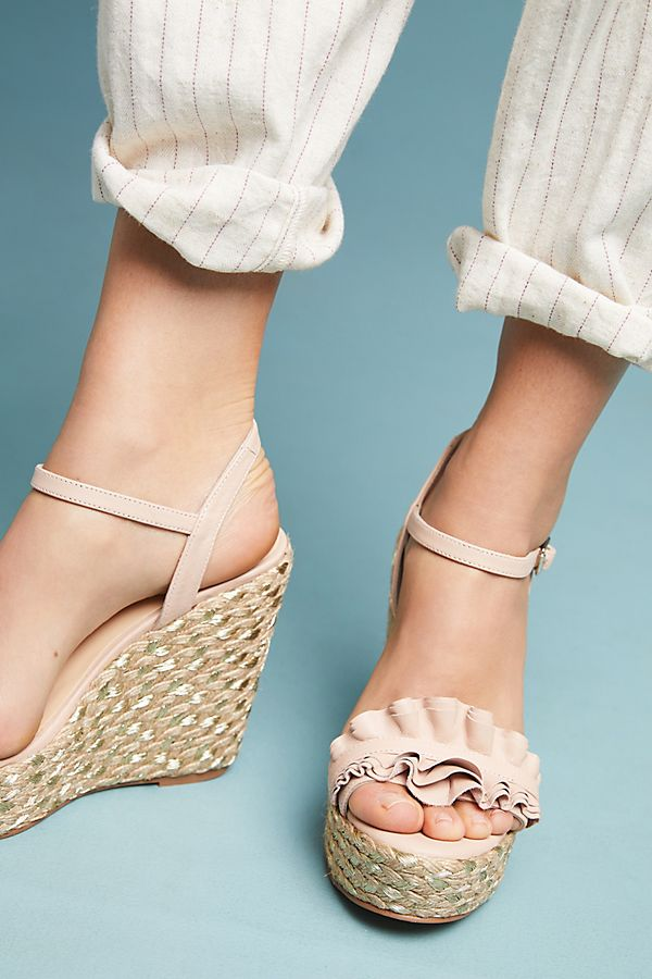 a8e92c402c969 Elysess Ruffled Wedge Sandals | Anthropologie