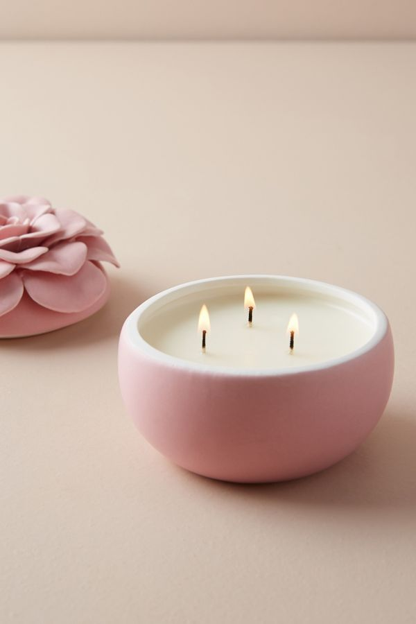 Ceramic Flower Candle - Come discover Pretty Pink Christmas Decor Inspiration with holiday interiors as well as shopping resources. #pinkChristmas #holidaydecor #christmasdecorating