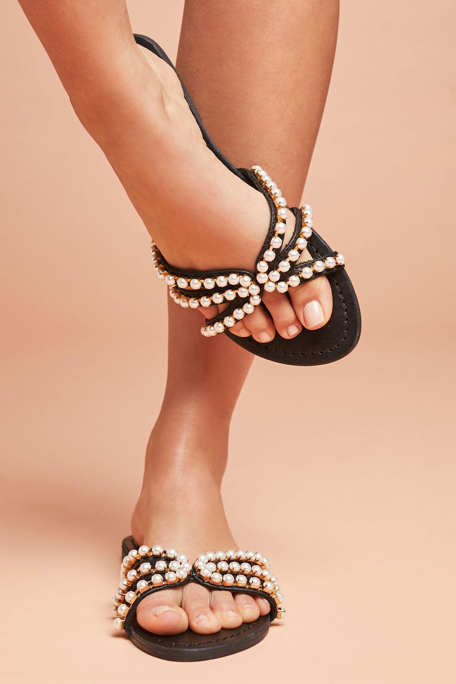 e6bec984d Mystique Pearled Slide Sandals
