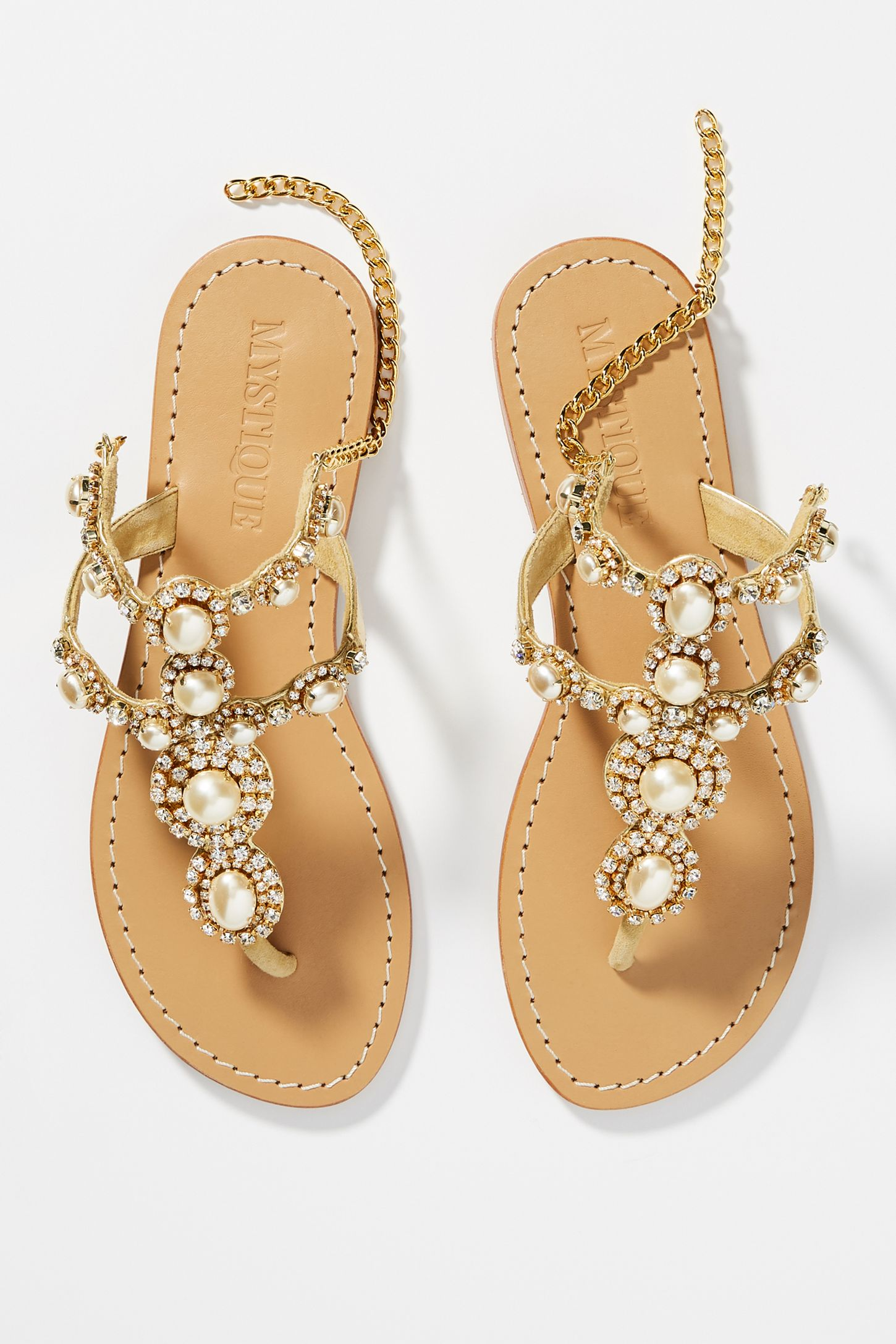 fd2dedb846495 Mystique Gold Pearl Sandals