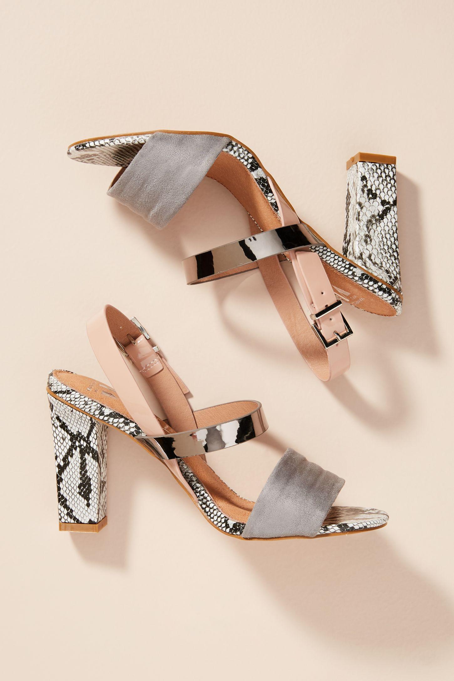 9b54a4913036 Vanessa Wu Metallic Colorblock Heeled Sandals